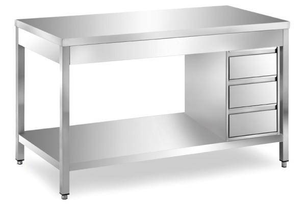 Arbeitstisch 1,2 x 0,7 m - Schubladenblock rechts Grundboden