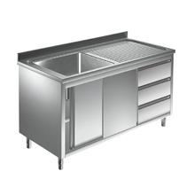 Unterkategorie - Spülschrank 1 Becken mit Schubladen - 0,6 m