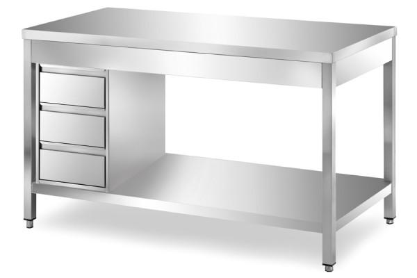 Arbeitstisch 1,4 x 0,6 m - Schubladenblock links Grundboden