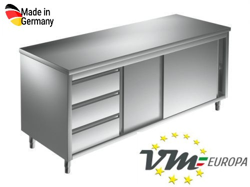 Arbeitsschrank 1,8 x 0,6 m - mit Schiebetüren und Schubladen links