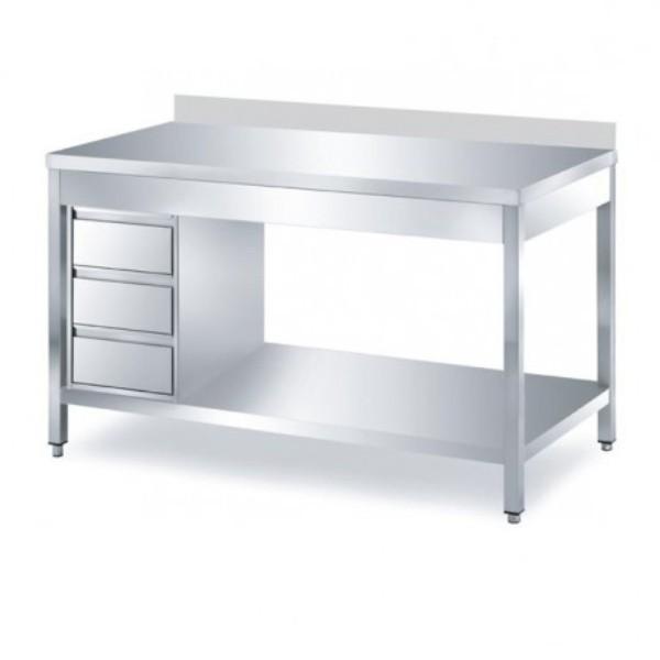 Arbeitstisch 1,2 x 0,6 m - Schubladenblock links Grundboden Aufkantung