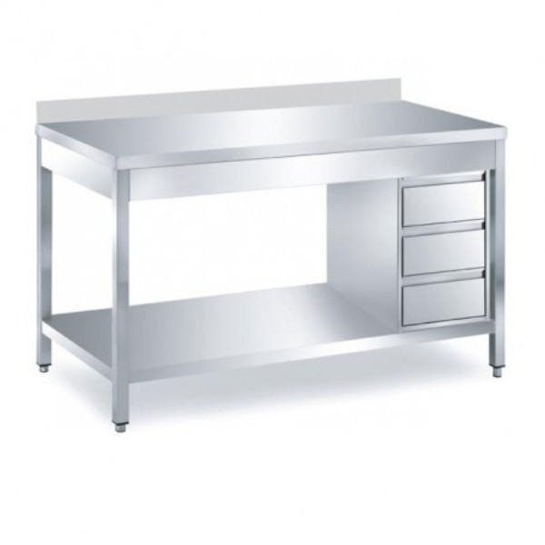 Arbeitstisch 2,0 x 0,6 m - Schubladenblock rechts Grundboden Aufkantung