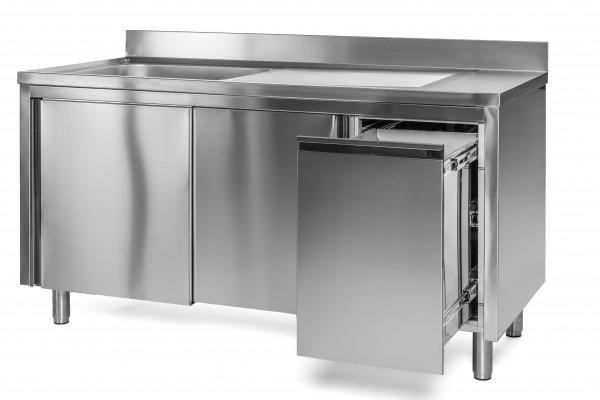 Spülschrank 1 Becken links - 1,6 x 0,6 m Abfallbehälter rechts