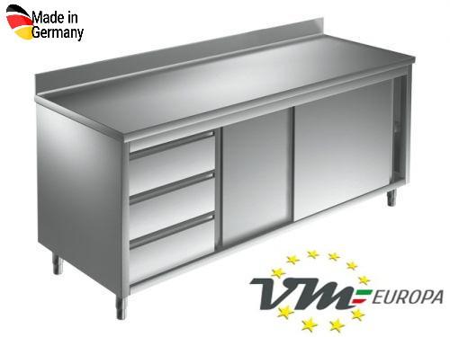 Arbeitsschrank 1,4 x 0,6 m - mit Schiebetüren, Aufkantung und Schubladen links