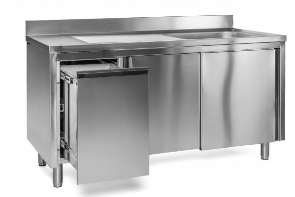 Spülschrank 1 Becken rechts - 1,0 x 0,7 m Abfallbehälter links