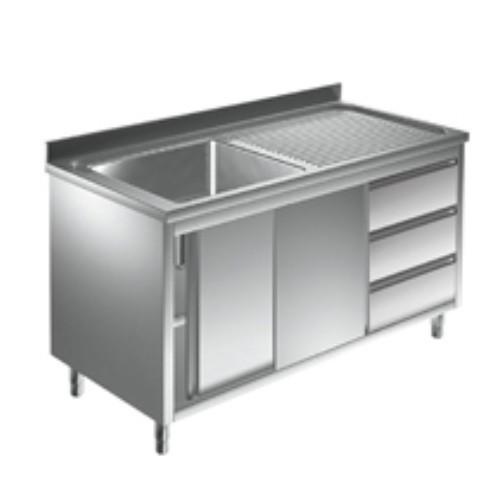 Spülschrank 1 Becken links - 1,6 x 0,6 m Schubladen