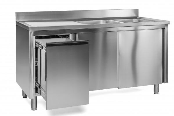 Spülschrank 2 Becken rechts - 1,4 x 0,6 m Abfallbehälter links