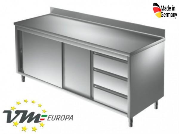 Arbeitsschrank 1,5 x 0,6 m - mit Schiebetüren, Aufkantung und Schubladen rechts