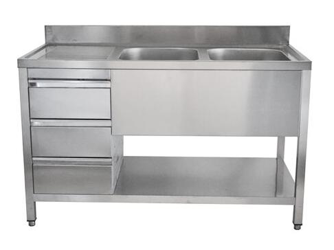 Unterkategorie - Spültisch 2 Becken - 0,6 m Schubladenblock