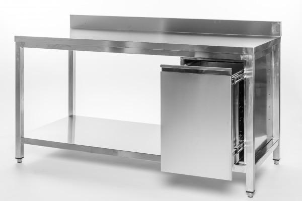 Arbeitstisch 1,4 x 0,6 m - Abfallbehälter rechts Grundboden Aufkantung