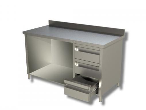 Arbeitsschrank 1,2 x 0,6 - offen, mit Aufkantung und Schubladen rechts