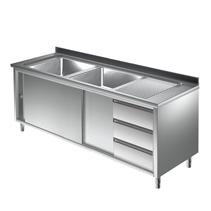 Unterkategorie - Spülschrank 2 Becken mit Schubladen 0,6 m