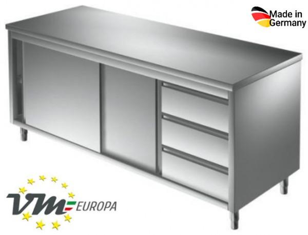 Arbeitsschrank 2,0 x 0,6 m - mit Schiebetüren und Schubladen rechts