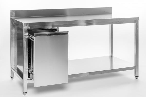 Arbeitstisch 1,6 x 0,6 m - Abfallbehälter links Grundboden Aufkantung