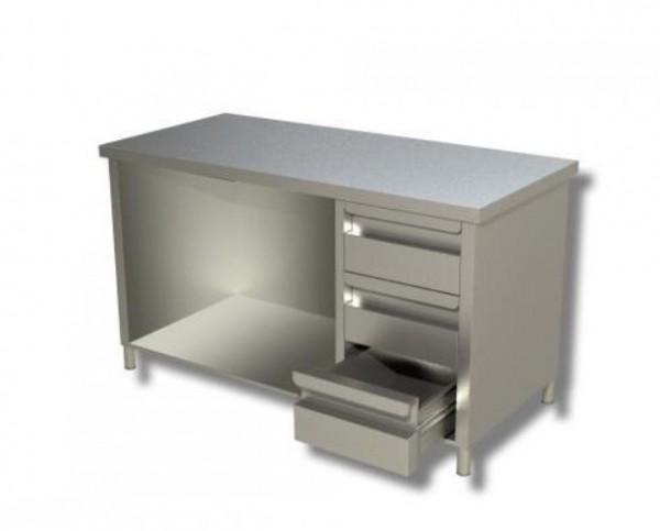 Arbeitsschrank 1,2 x 0,6 - offen, mit Schubladen rechts