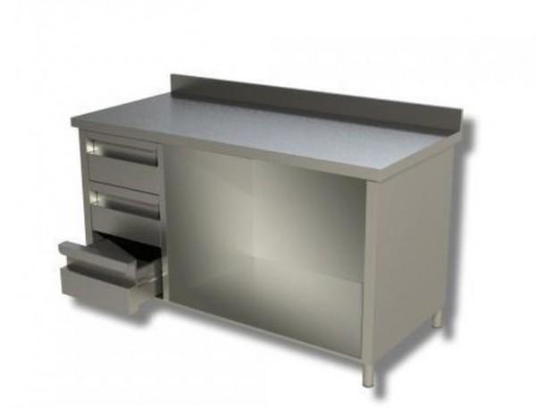 Arbeitsschrank 1,4 x 0,6 - offen, mit Aufkantung und Schubladen links
