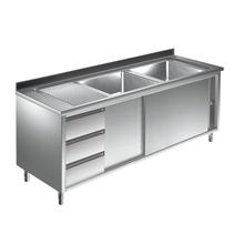 Unterkategorie - Spülschrank 2 Becken mit Schubladen - 0,7 m