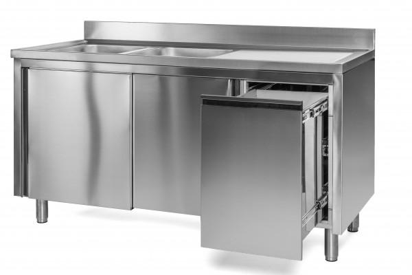 Spülschrank 2 Becken links - 1,6 x 0,6 m Abfallbehälter rechts