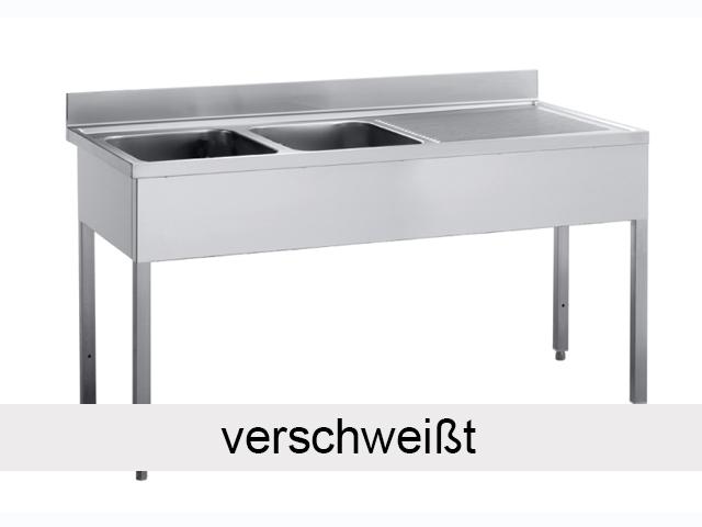 sp ltisch 2 becken links 1 4 x 0 6 m ohne grundboden verschwei t vm europa. Black Bedroom Furniture Sets. Home Design Ideas
