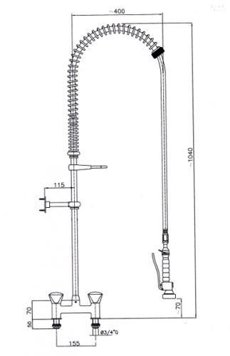 2 Loch Geschirrbrause Brause Waschbrause Edelstahl Spültisch Spülschrank Spüle